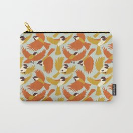 Chickadees in Orange Carry-All Pouch