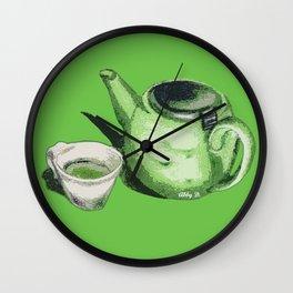 Green Tea and Teapot Illustration Art Wall Clock