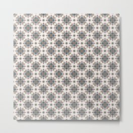 Brown and Blue Geometric - Squares and Circles Metal Print
