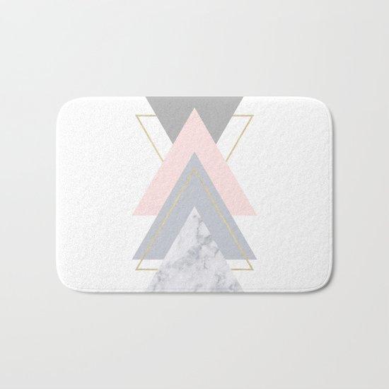 Blush Marble Gray Gold Geometric Pattern Bath Mat