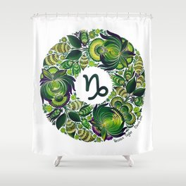 Capricorn in Petrykivka Style (with signature) Shower Curtain