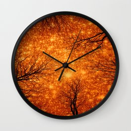 Black Trees Amber Space Wall Clock