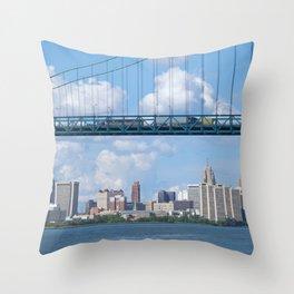 Bridging the Detroit River Throw Pillow
