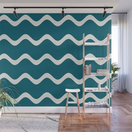 Off White Simple Soft Rippled Horizontal Line Pattern on Tropical Dark Teal Inspired by Sherwin Williams 2020 Trending Color Oceanside SW6496 Wall Mural