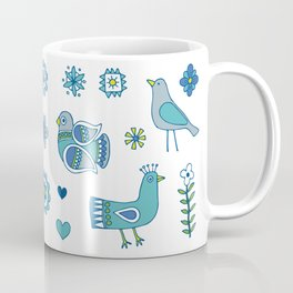 Scandi Folk Birds - blue & white Coffee Mug