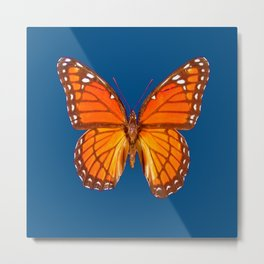 TEAL ORANGE MONARCH BUTTERFLY Metal Print