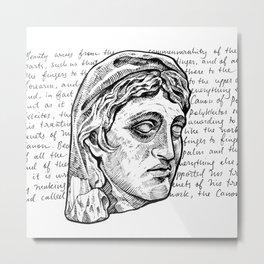 Greek Bust & Calligraphy Metal Print