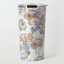 Vintage blush lavender brown teal blue roses floral Travel Mug