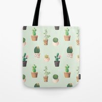 succulents Tote Bags featuring Succulents  by Tasteful Tatters