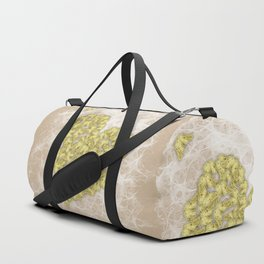 Romantic butterfly swarm on peach texture Duffle Bag