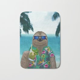 Sloth on summer holidays drinking a mojito Bath Mat