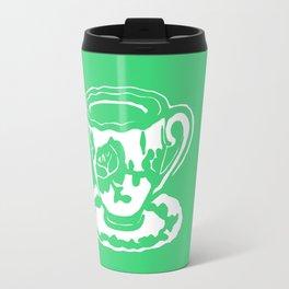 Green Rose Teacup Printmaking Art Travel Mug