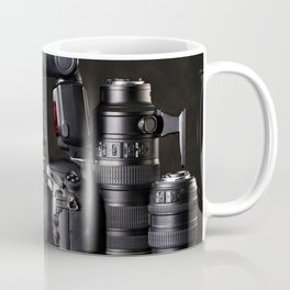 Set of photographs DSLR camera, lens and flash Coffee Mug