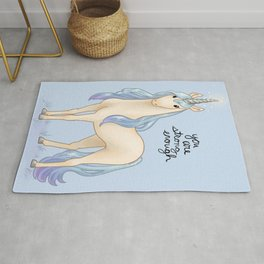 """You Are Strong Enough"" Unicorn Rug"