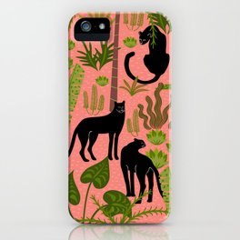 Tropical Panther Pattern iPhone Case