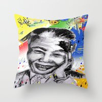 mandela Throw Pillows featuring Mandela forever by sladja