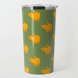 Cute Yellow Cats Pattern | Green Travel Mug