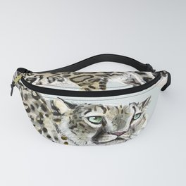 Snow leopard in ice grey Fanny Pack