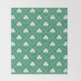 SHAMROCK ON! - emerald Throw Blanket