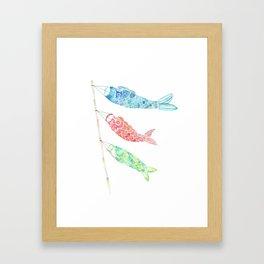 Watercolor Japan Carp Streamers / Koinobori Framed Art Print