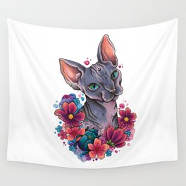 Neo Traditional Sphynx cat and flowers Wall Tapestry