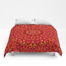 Red Geometric Bloom Mandala Comforters