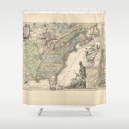 Vintage Map Print - French Map of the American War of Independence (1777) Shower Curtain