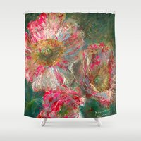 poppies Shower Curtains featuring poppies by Spinning Daydreams