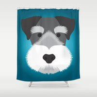 schnauzer Shower Curtains featuring Miniature Schnauzer  by Three Black Dots