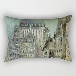 London's St Pauls and Ludgate Hill - Oil Painting, London, England Townscape by Godwin Bennett Rectangular Pillow