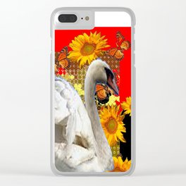 Abstracted Swan IN Red-Black Sunflowers Butterflies Clear iPhone Case