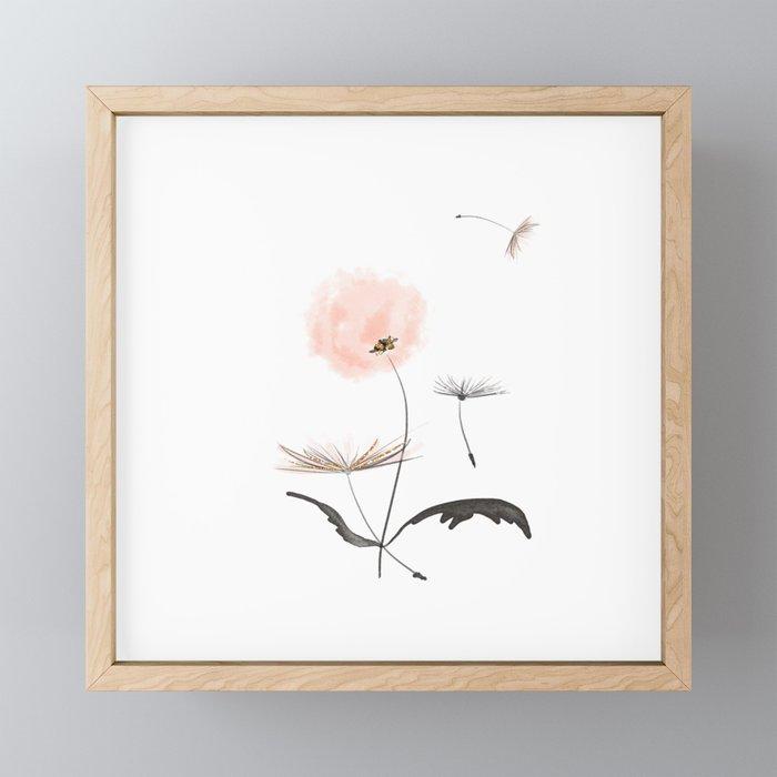 Sweet dandelions in pink - Flower watercolor illustration with glitter Framed Mini Art Print