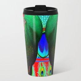 GREEN PEACOCKS & RED-PURPLE  MODERN ART Travel Mug