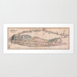 Vintage Long Island NY Railroad Map (1882) Art Print