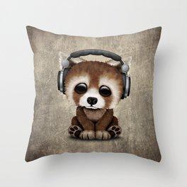 Cute Baby Red Panda Deejay Wearing Headphones Throw Pillow