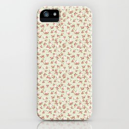 Shabby Chic Roses on Green iPhone Case