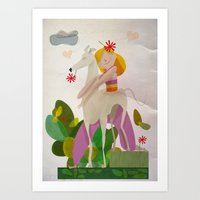 Dorita & Valeria, friends forever Art Print
