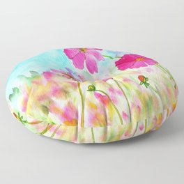 Symphony In Pink, Watercolor Wildflowers Floor Pillow
