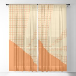 Geometric orange grid collage Sheer Curtain