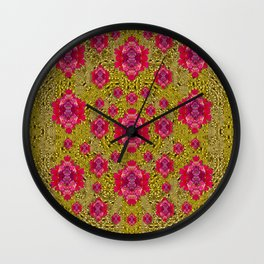 Fantasy-flowers to brighten up in gold Wall Clock