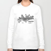 singapore Long Sleeve T-shirts featuring Singapore Map by Shirt Urbanization