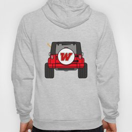 Jeep Wave Back View - Red Jeep Hoody