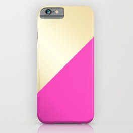 Modern hot pink & gold color block iPhone Case