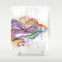 fish Shower Curtains featuring Fish  by Olechka