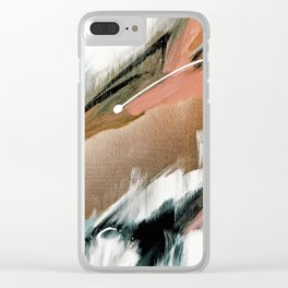 Head in the Clouds [2]: colorful abstract piece in pink, teal, gold, black and white Clear iPhone Case