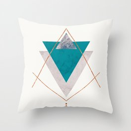 TEAL COPPER AND BLUSH GEOMETRIC Throw Pillow