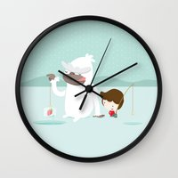 fishing Wall Clocks featuring Fishing by Alfonso Cervantes