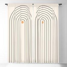 Mid Century Modern Geometric 37 ( Rainbow and Sun Abstraction) Blackout Curtain