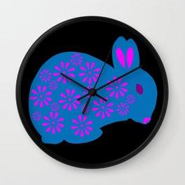 Rabbit made of Flowers Wall Clock