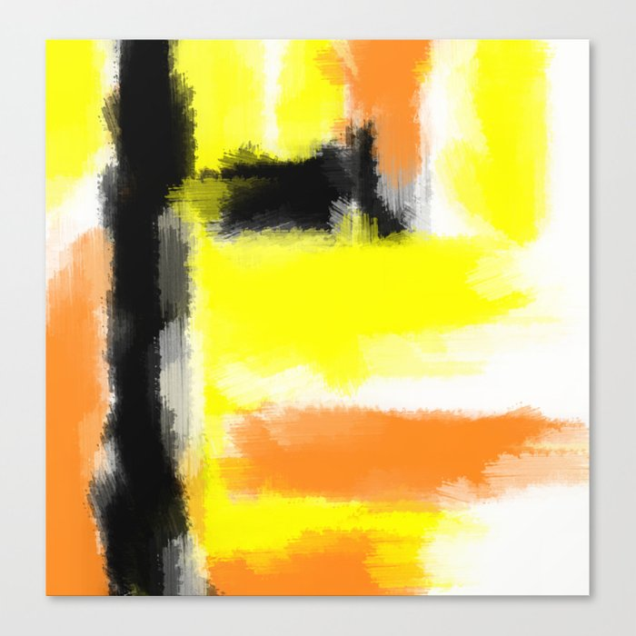 Orange Yellow And Black Painting Abstract With White Background Canvas Print By Timla